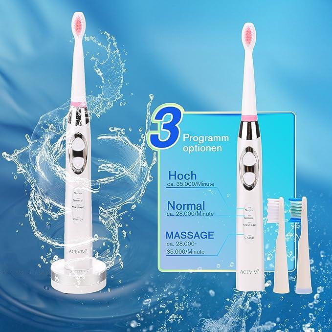 ACEVIVI SG-917 Cepillo de dientes eléctrico recargable inductivo con tecnología avanzada sónica, 2 minutos del temporizador, 3 modos de limpieza, ...