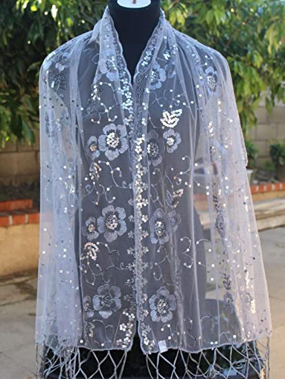 09cdaae5d8934 Amazon.com: Silver Sequin Beaded Shawl Flower Wedding Party Gift Evening  Wrap/Wedding/New Year Eve/Formal Event/: Home & Kitchen