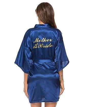 418d8c4e5c3 Vlazom Bride Bridesmaid Robes Satin Kimono Bridal Party Robe Dressing Gown