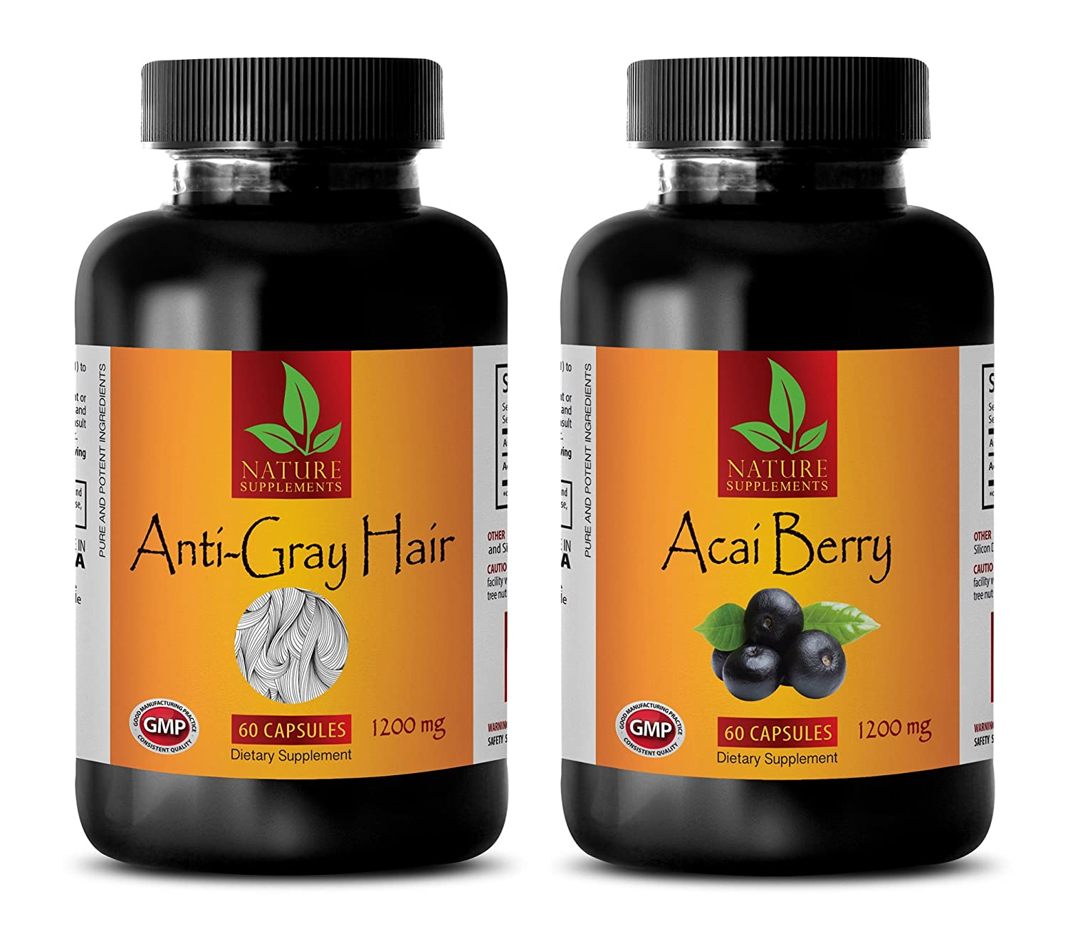 anti aging tools - GRAY HAIR - ACAI BERRY - saw palmetto hair oil - (2 Bottle Combo)