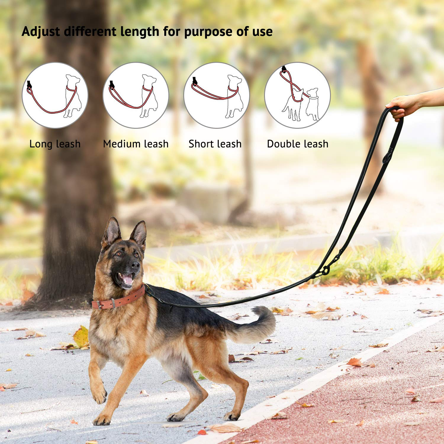 """Multi-functional Dog Leash Adjustable Rope Durable Nylon Reflective Material Pet Leash for Walking Training Running 2 dogs to 3 different sizes M:0.8/"""" Width,3.6Ft-6.6Ft, Green"""