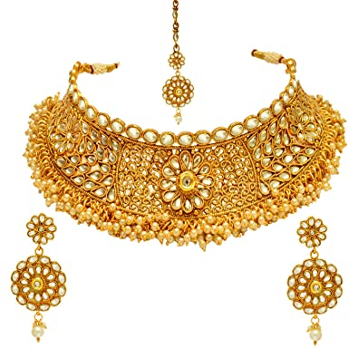 fd48b703299 Buy Sitashi Multi-Colour Gold-Plated Kundan Necklace Set For Women ...