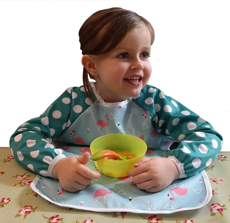 Tablier extra longue /à lavant pour retenir tous les aliments renvers/és Lilypoppy bavoir /à manches longues pour b/éb/é et petit enfant 6-18M, Animal Bday//Blue Imperm/éable