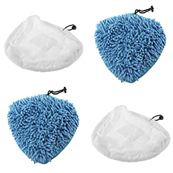 SPARES2GO Coral Microfibre Cloth Cover Pads for Aldi Easy Home 59322 1500W Steam Cleaner Pack of 2