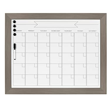 DesignOvation Beatrice Framed Magnetic Dry Erase Monthly Calendar, 23x29, Gray