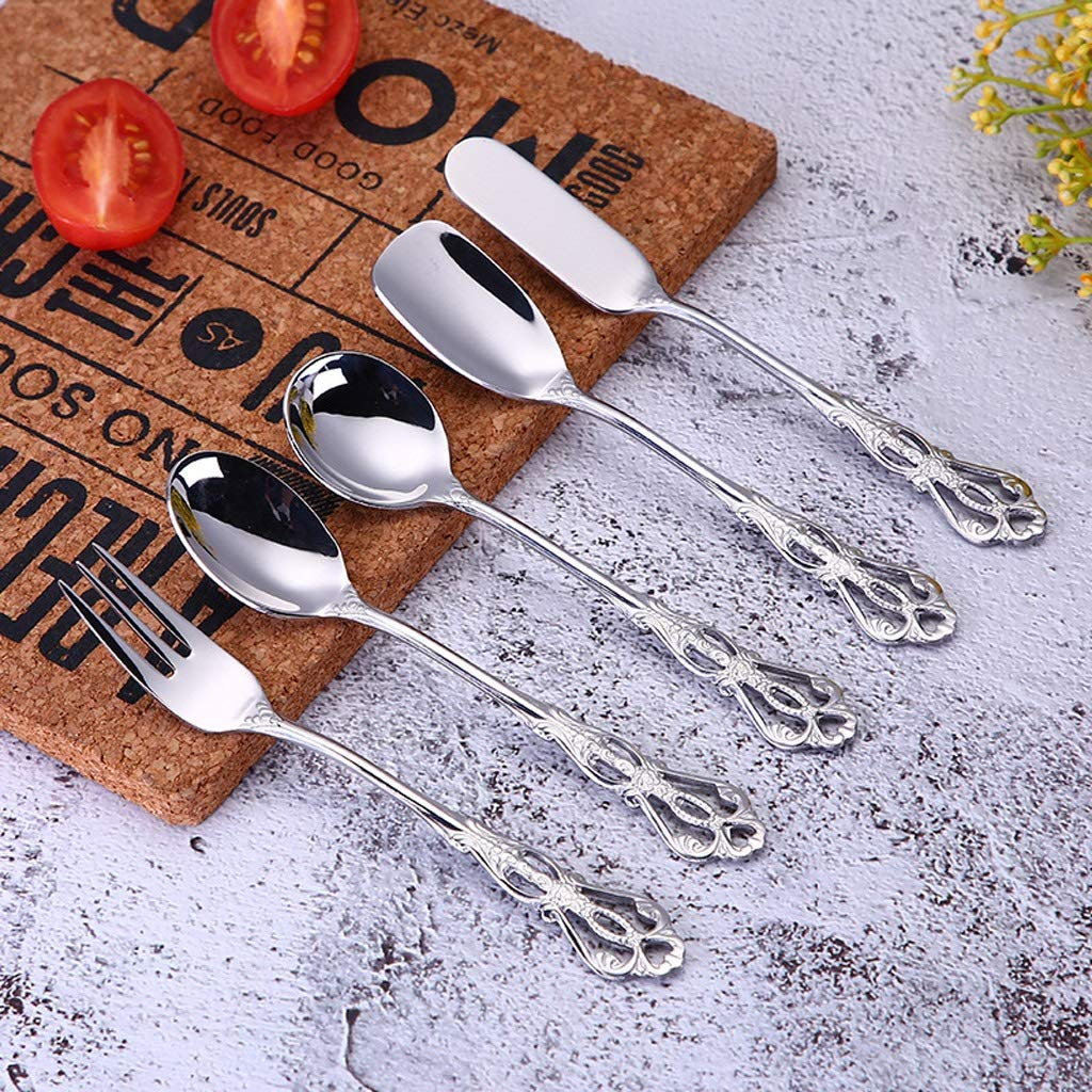 WDNMD Stainless Steel Coffee Spoons Fork Dining Utensils Smooth Tableware Food-Grade Demitasse Espresso Spoons C-98 (F)