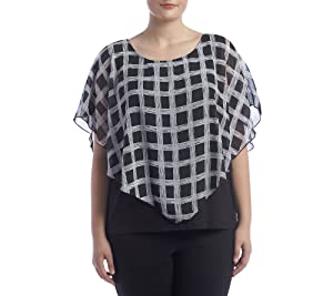 AGB Plus Size Printed Overlay Top Black Multi 2X