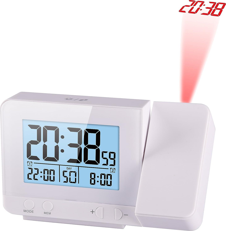 Noir Horloge Digitale Atomique Horloge Num/érique Radio-pilot/ée 2 Alarmes R/éveil Matin /à Projection Murs et Pla-fonds Temp/érature ThinkGizmos TG644 R/éveil Lumineux Hygrom/ètre Port USB