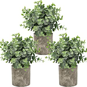 Hopewood Artificial Potted Eucalyptus Plant Decor,Fake House Plant Faux Modern Live Indoor, Used for The Shelf, Office Desk, Farmhouse Wall Decor (Set of 3)