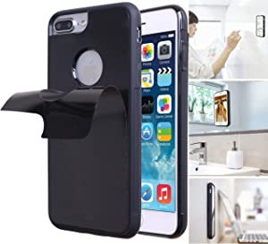 Anti Gravity Phone Case for iPhone 8 Plus with Dust Proof Film, Magic Nano Hands Free Stick to Wall Anti-Gravity Case Black Anti Gravity Case for iPhone 7 Plus (iPhone 8 Plus Hole)