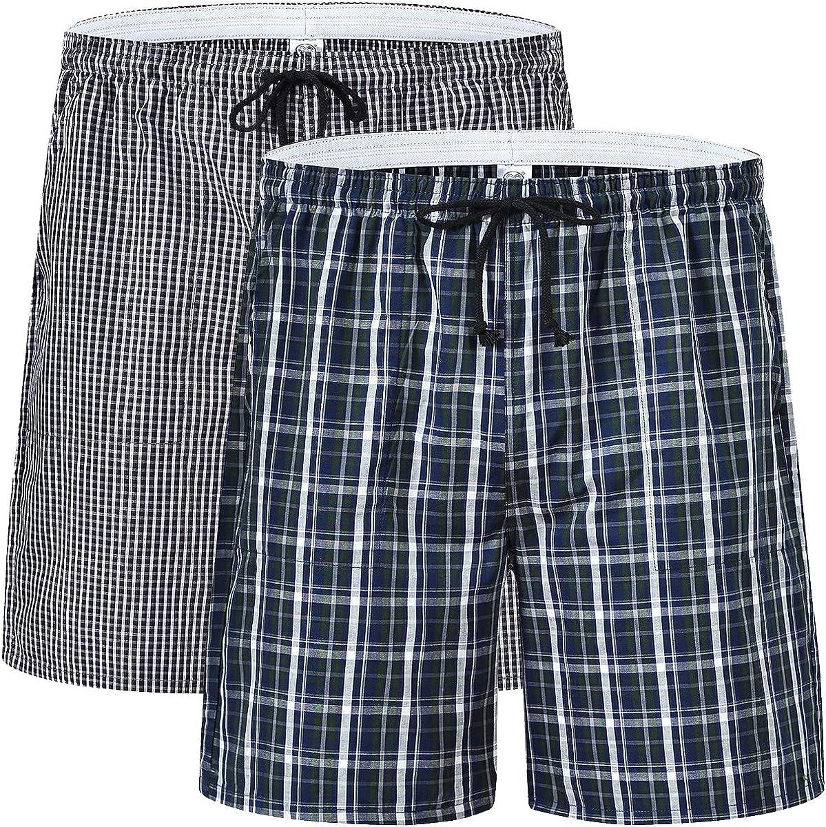 Men's Pajama Shorts Man Plaid Sleep Shorts Cotton Lounge Boxer Shorts with Pockets