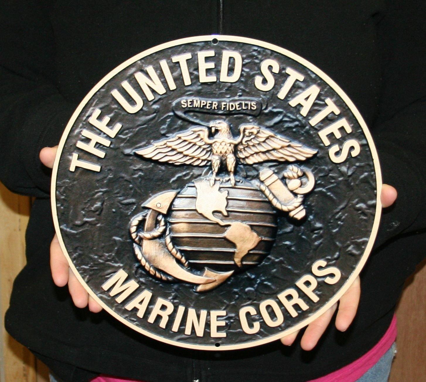USMC Logo Round Metal Sign Black w/ Bronze 12'' Semper Fi by West Coast Corvette / Camaro