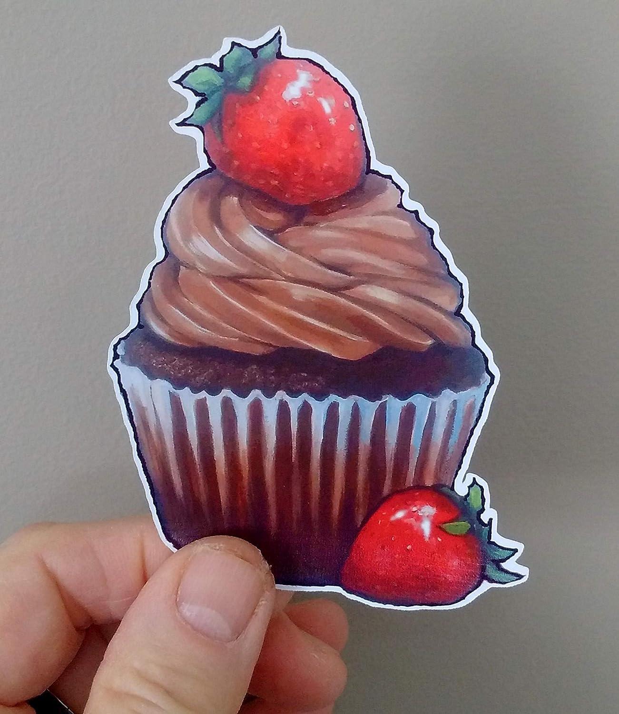 Strawberries CUPCAKE Stickers Embellishment Decoration Set of Four CHOCOLATE From Original Art