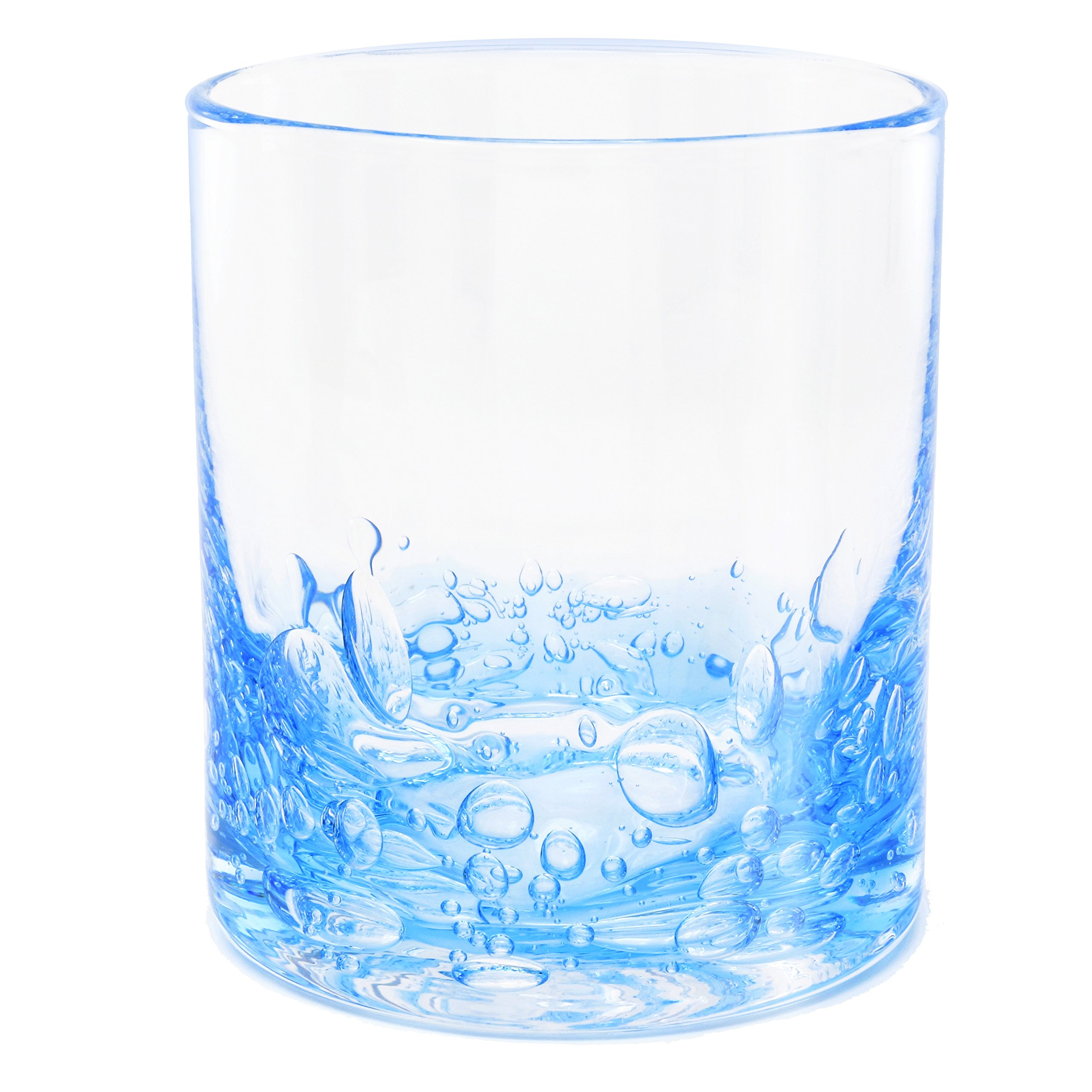NÄU Zone Jovian Collection Cocktail Glasses Set of 4: Hand-Blown 12-oz Rocks Glasses – Great Tumbler for Scotch, Bourbon, Whiskey, or Any Mixed Drink – Elegant Glassware Set – [BLUE]
