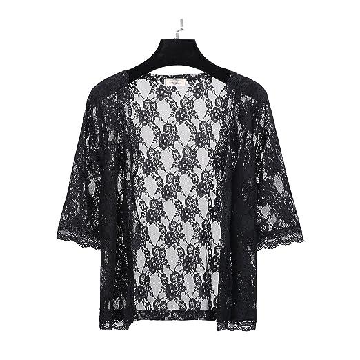 5eba61b21a3 Short Sleeves Lace Crochet Summer Beach Cover up Open Cardigan for Women