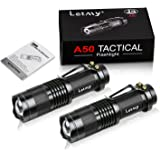 LETMY Mini Flashlights, Super Bright LED Tactical Flashlight with Belt Clip, Zoomable, 3 Modes, Waterproof Flashlights for Gift, Fishing, Hiking &Camping(2 Pack)