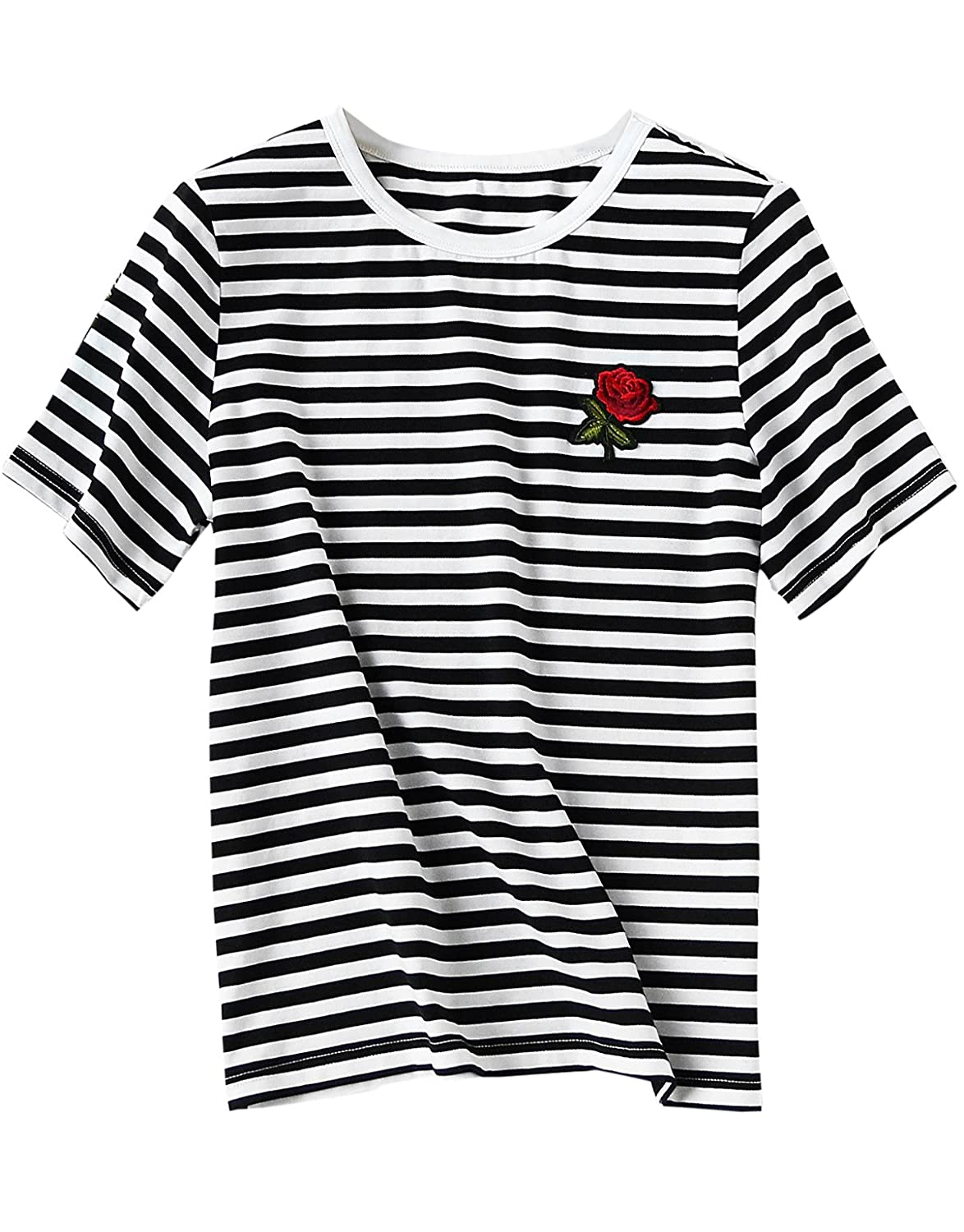 55a03c9e Amazon.com: Romwe Women's Summer Short Sleeve Striped Tee Cotton T-Shirt:  Clothing