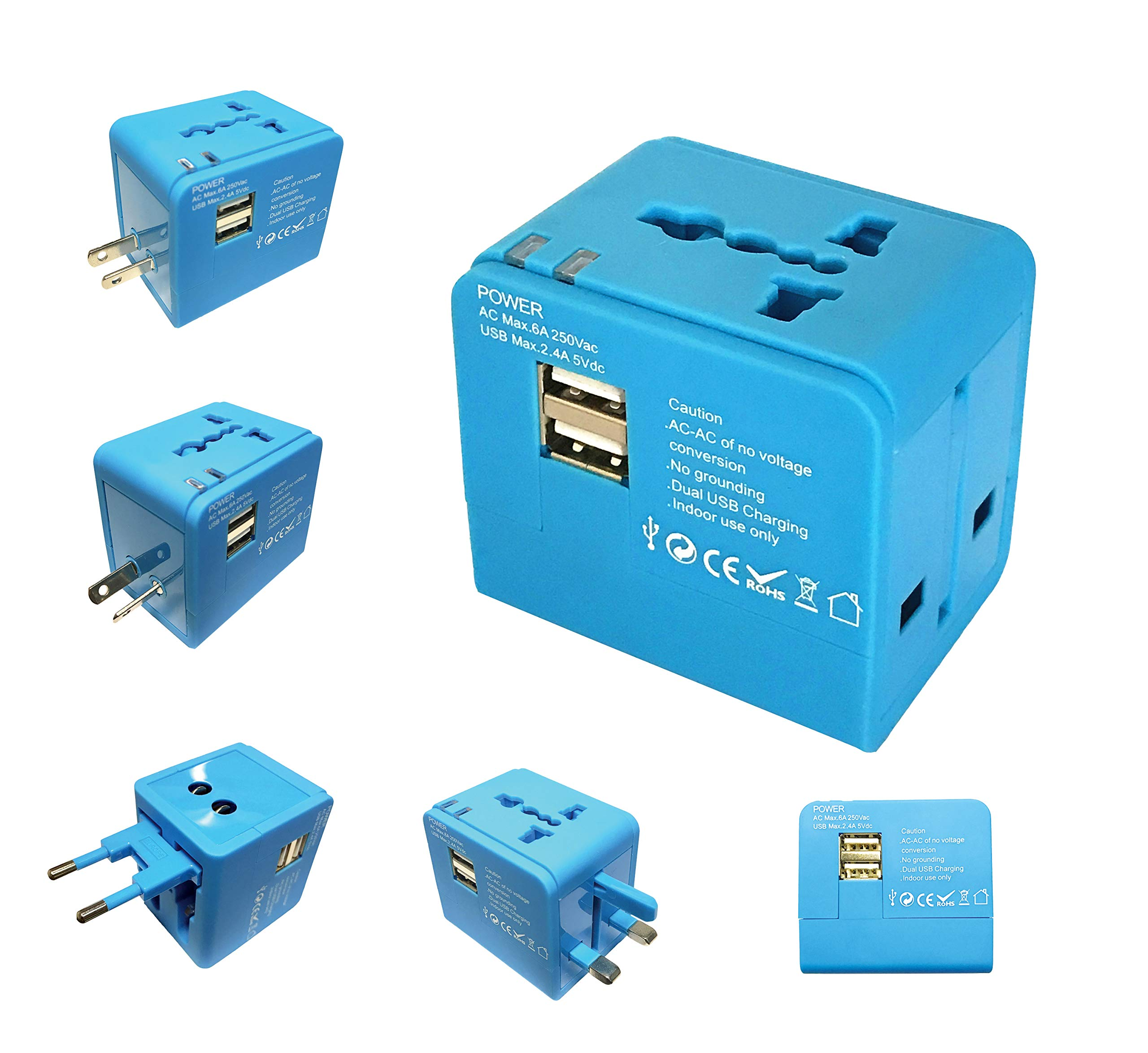 Sycon All-in-One International Travel Plug Adapter with Dual USB Ports (UP-9KU) - Great for iPhone/Smartphones/Laptops & More (All in One Adapter/W USB)
