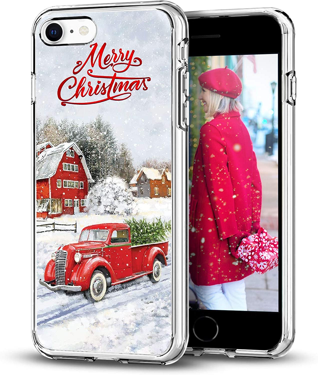 Newseego Compatible with iPhone SE 2020/iPhone 7/8 Christmas Case, Shockproof Series Anti-Yellow TPU Bumper Protective Soft Case Cover for iPhone 7/8/SE Merry Christmas Car Design