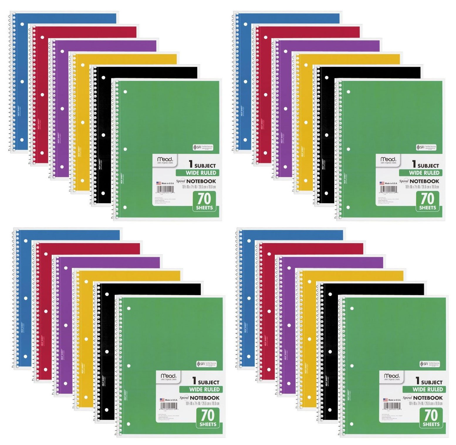 Mead Spiral Notebook, Wide Ruled, 1 Subject, 70 Sheets, 24 PACK