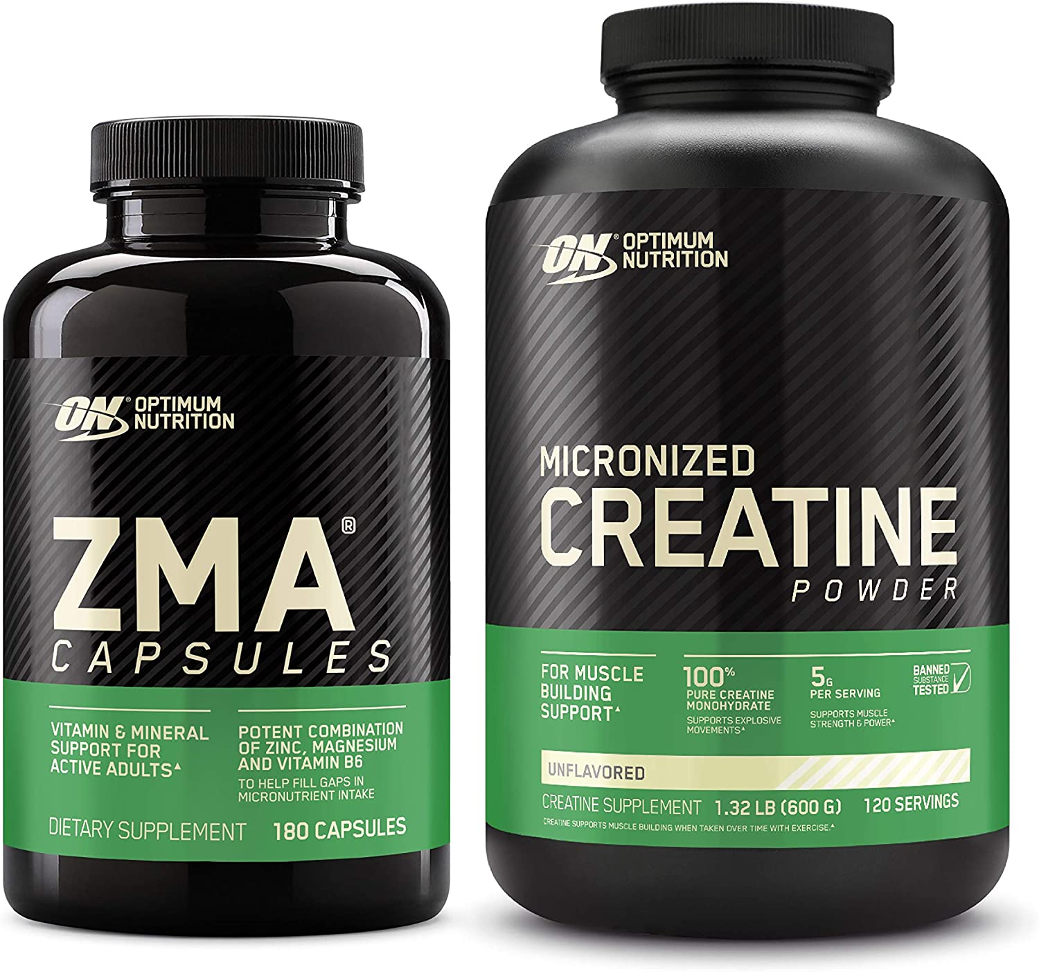 Optimum Nutrition ZMA Muscle Recovery and Endurance Supplement for Men and Women, Zinc and Magnesium Supplement with Micronized Creatine Monohydrate Powder, Unflavored
