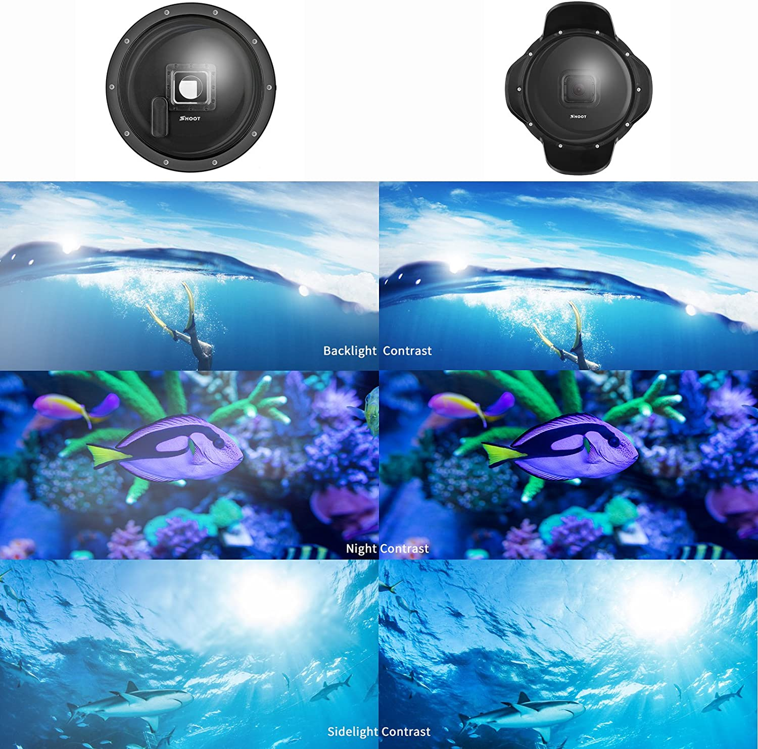 SHOOT Official 3.0 Dome Port for GoPro Hero 7 Black// 6//5//HERO Camera- Waterproof Case 2018 Floating Grip for Underwater Photography Scuba Diving Accessories