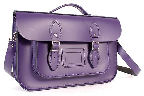 Oxbridge Satchels - Bolso estilo cartera de Piel para mujer Morado Deep Purple