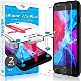 Power Theory Screen Protector for iPhone 8 Plus/iPhone 7 Plus Glass [2-Pack] with Easy Install Kit - Premium Tempered Glass f