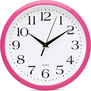 Bernhard Products Pink Wall Clock 10 Inch Silent Non Ticking Battery Operated Quality Quartz Round Easy to Read Home/Office/Kitchen/Nursery/Girl's Bedroom/Classroom/Kids Playroom/School Clock