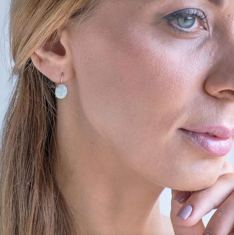 Dainty 14K Solid Yellow Gold Earrings White Opal Drop Earrings 6x8mm Gemstone Dangle Bridal Earrings with October Birthstone Elliptic Oval Gemstone Fine Handmade Jewelry for Brides /& Weddings