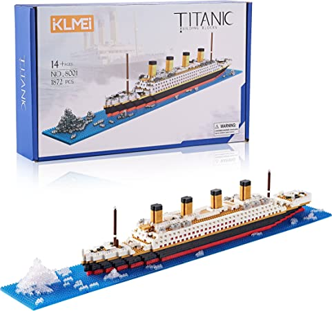 KLMEi Titanic Model Kit and for Kids and Adults ,Micro Block 1872 Pieces(with Color Package)