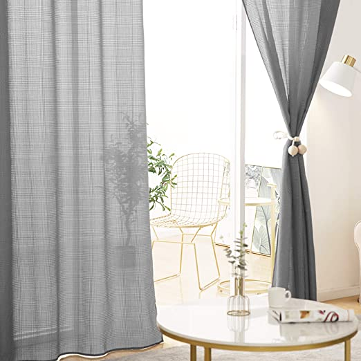Deconovo Grey Sheer Curtains Grommet Modern Design Jacquard Checkered  Semi-Sheer Curtains for Boys Room 52X63 Inch Grey 1 Pair