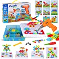 223 Pieces Creative Mosaic Drill Set for Kids, Toy Drill and Screwdriver Puzzle Kit, STEM Engineering Education Learning Buil