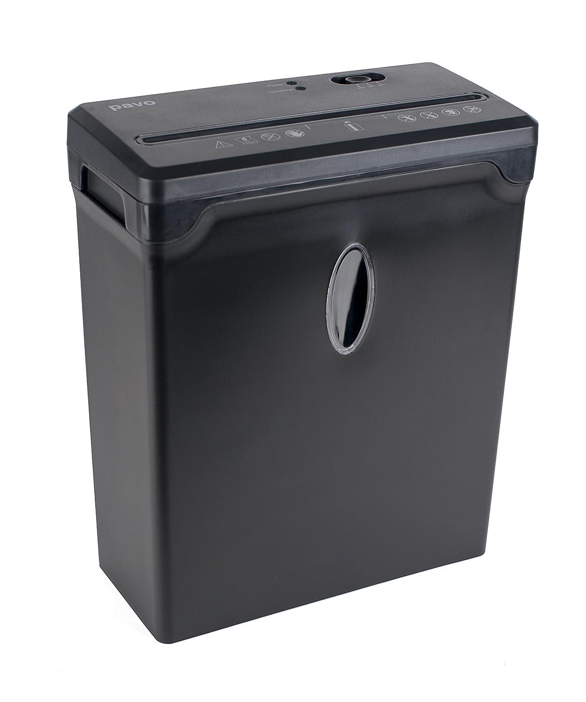 PREMIUM Aktenvernichter bis zu 6 Blatt, Partikelschnitt / Kreuzschnitt 4x33mm mit Kreditkart Shredder, inklusive Papierkorb 10L PAVO 8003501