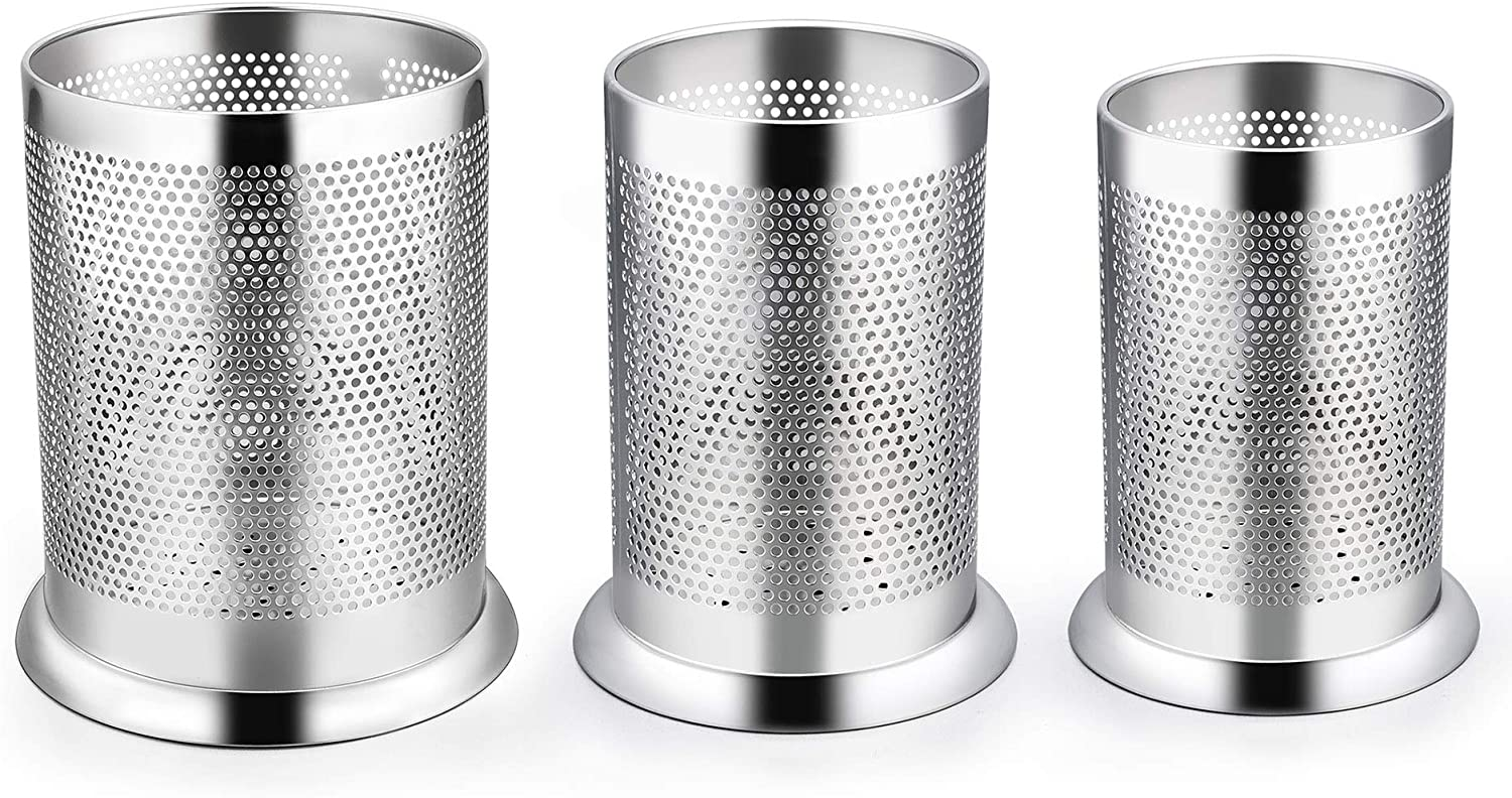 LIANYU Utensil Holder Set of 3, Stainless Steel Large Medium Small Kitchen Cooking Utensil Organizer, Silverware Flatware Holder Cylinder, Micro-perforated, Dishwasher Safe