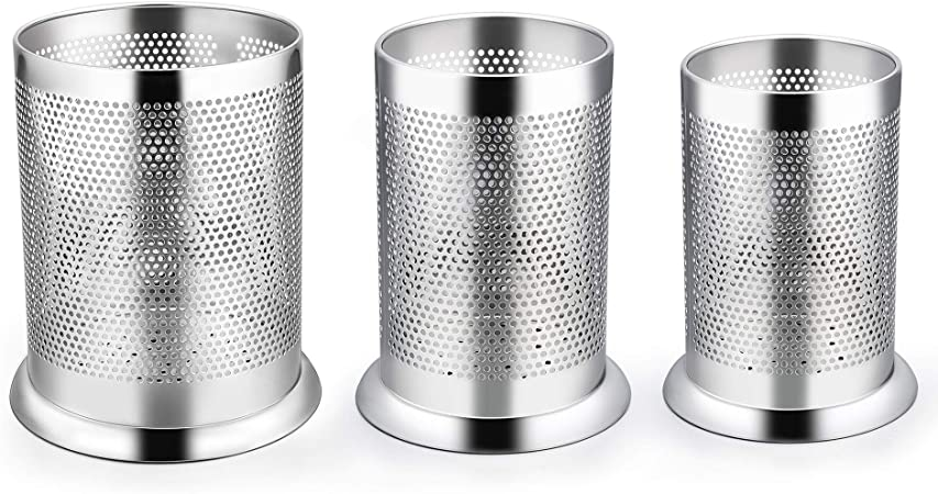 LIANYU Utensil Holder Set of 3, Stainless Steel Large Medium Small Kitchen  Cooking Utensil Organizer, Silverware Flatware Holder Cylinder, ...