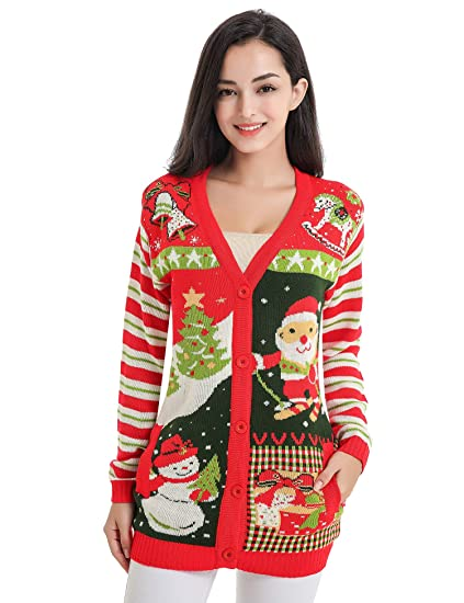V28 Christmas Sweater Cardigan Women Girls Ugly Fun Long Knit Colorful Sweaters