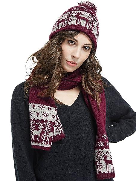 2247f37d929 lethmik Christmas Pom Pom Beanie Winter Warm Knit Cap Skully