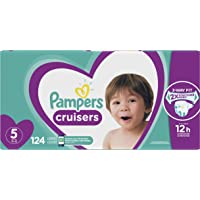 Diapers Size 5 - Pampers Cruisers Disposable Baby Diapers, 124 Count, Economy Pack Plus (Packaging May Vary)