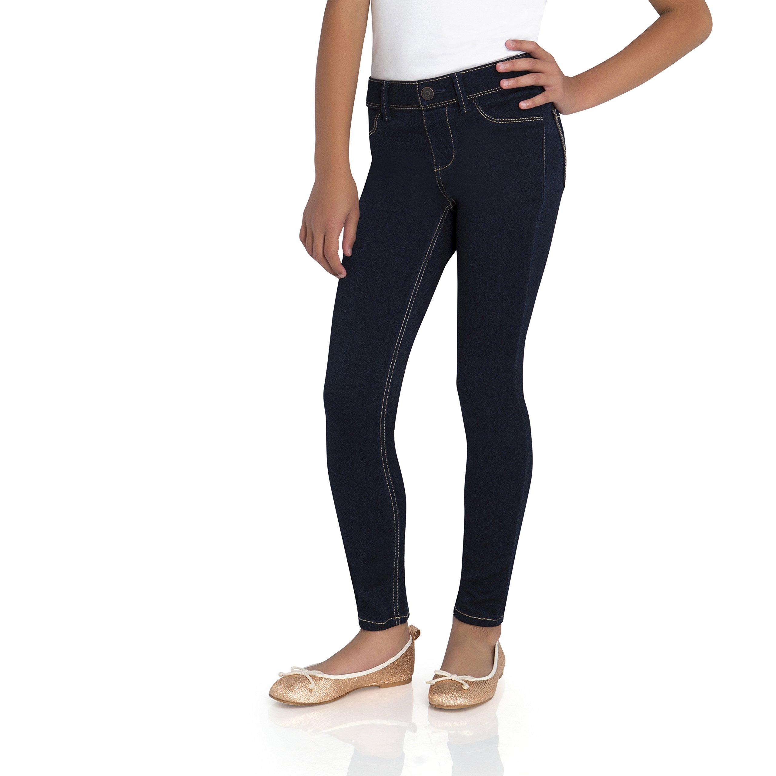 Jordache Girls' Pull On Denim Leggings (10/12, Rinse Indigo)