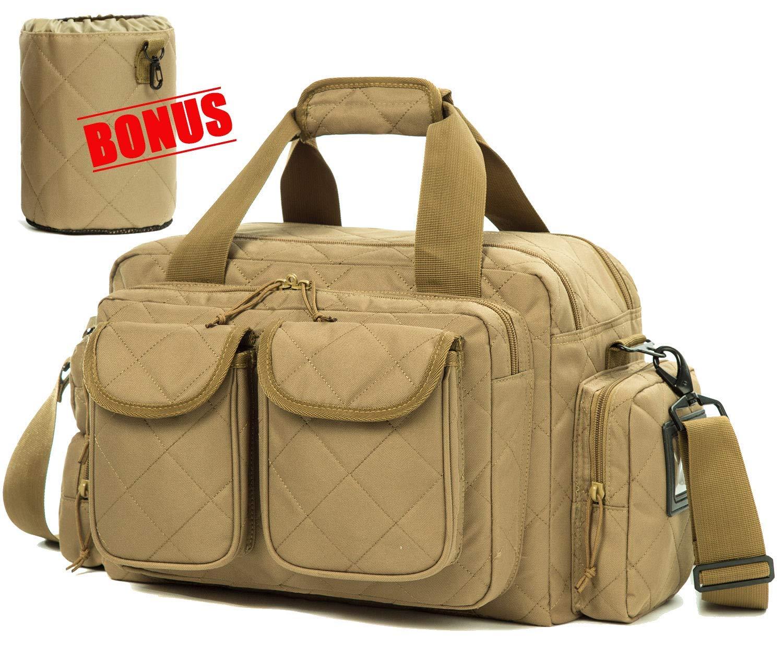 SUNLAND Gun Range Bag,Tactical Shooting Range Bag with Lockable Zipper and Plenty of Room for Handguns (Tan) by sunland