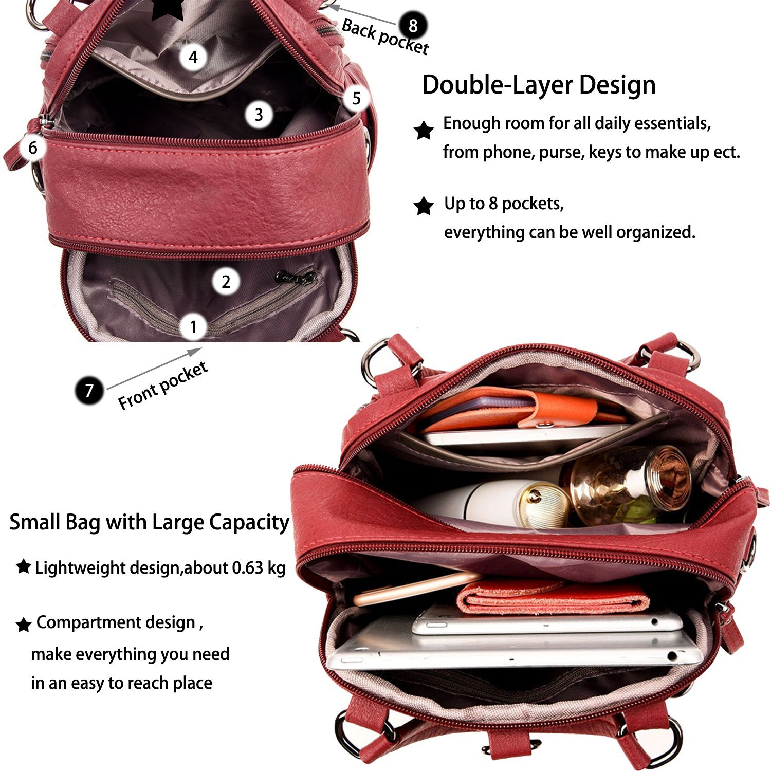 e61bc6c49c ... ELIMPAUL Women Backpack Washed Leather Ladies Rucksack Crossbody  Shoulder Bag Purse Top handle Bag with Small ...