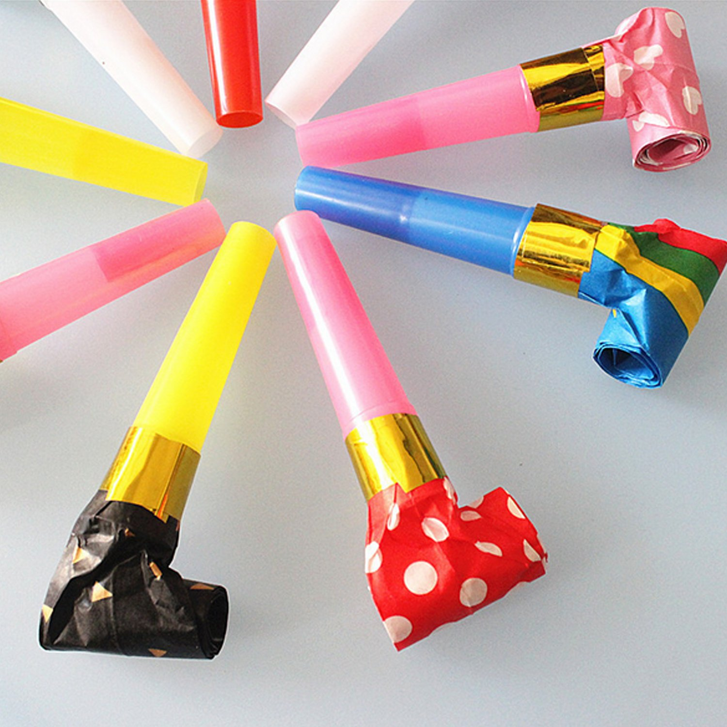 20pcs Party Horns Noisemakers Blow Outs Blowouts Whistles Toys for Birthday Party Favors Random Style Color
