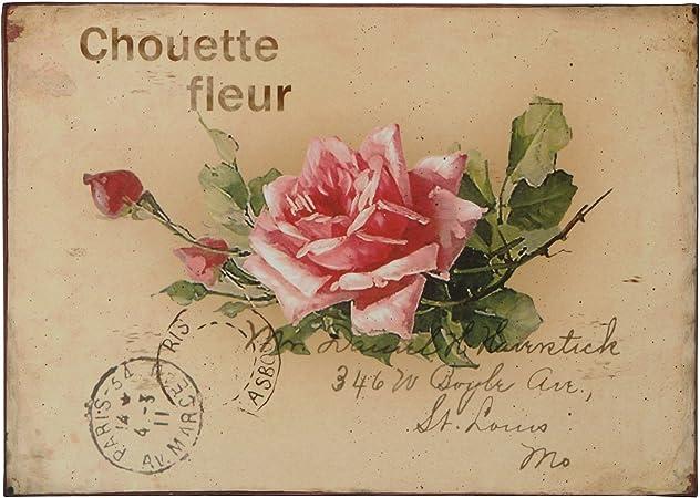 Shabby Blechschild Rosen Nostalgie Retro Dekoschild Wanddeko Blumen
