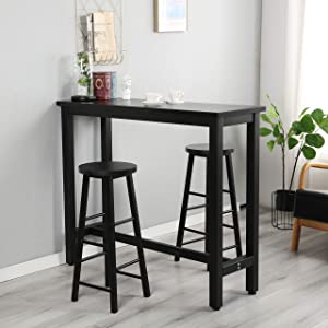 G-house 3-Piece Pub Table Set, Counter Height Dining Table Set with 2 Bar Stools for Kitchen, Breakfast Nook, Dining Room, Living Room (Black)