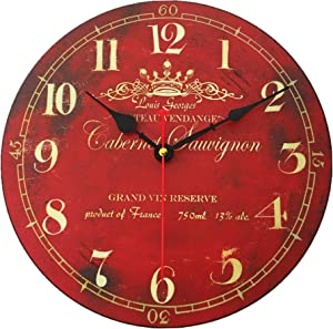 16 Inch Thick Wood Wall Clock Vintage Red Home Decorative Analog Clock for Bedroom Living Room Kitchen Cafes Office,Silent Battery,Non Ticking