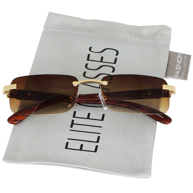 f7a7157a76419 Amazon.com  Elite Slim Rimless Rectangular Metal   Wood Art Aviator  Sunglasses (Black)  Clothing