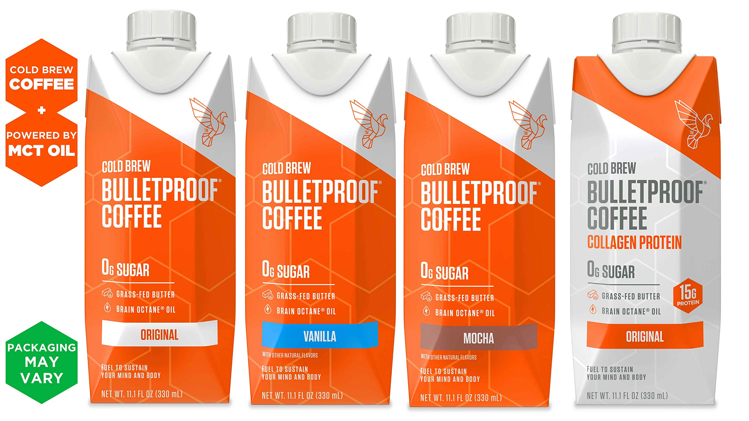 Bulletproof Cold Brew Coffee Sampler 4-pack, Keto Friendly, Sugar Free, with Brain Octane oil and Grass-fed Butter (4 Pack). by Bulletproof