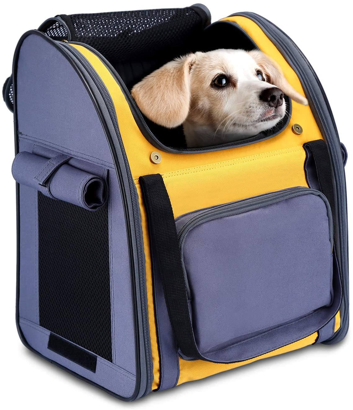 HAPPY HACHI Mochila Plegable para Perros Pequeños Portabebés Suave con Múltiples Tiendas de Transporte para Gatos Pequeños para Viajes en Avión (34x26x40cm, Gris Amarillo)