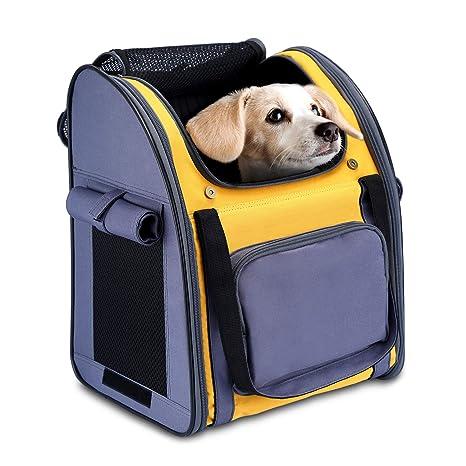 PETTOM Mochila Plegable para Perros Pequeños Portabebés Suave con Múltiples Tiendas de Transporte para Gatos Pequeños